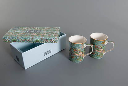 2-pack mugg, William Morris, Strawberry theif Rektangulär kartong