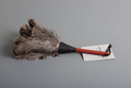Ostrich feather duster, short, red handle