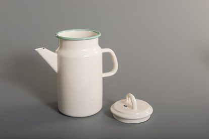 Kockum's enamel teapot in cream with green accents
