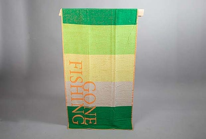 'Gone Fishing' beach towel in green and orange from Lord Nelson