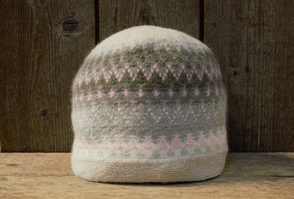 The Gothic Window Pink, with a beige bottom, hat, knitting kit