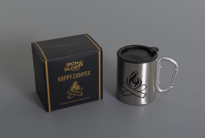 Silver mug from Iron & Glory with caribiner handle